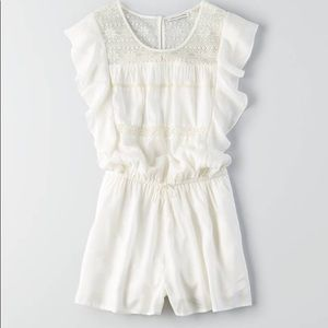 AE white flutter sleeve lace romper